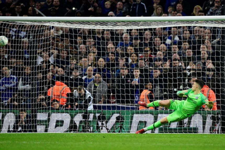 Chelsea's Kepa Arrizabalaga in action during the penalty shootout at Wembley Stadium, London, Britain, on Feb 24, 2019.
