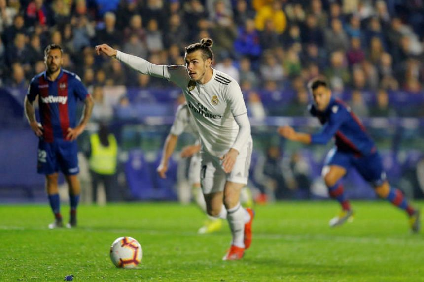 Real Madrid's Gareth Bale scores their second goal from the penalty spot at Ciutat de Valencia, Valencia, Spain, on Feb 24, 2019.