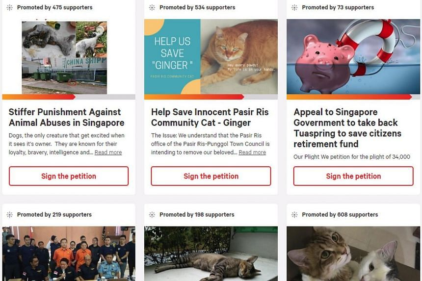 A check by The Straits Times showed that Singaporeans created more than 140 petitions on popular petition websites like Change.org and GoPetition last year.