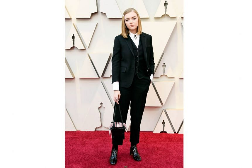 ELSIE FISHER IN THOM BROWNE: The breakout star of Eighth Grade may not have been nominated for her work as an anxious teen finishing her last week of middle school, but she sure won the red carpet in her own way. Eschewing princess gowns, the 15-year-old