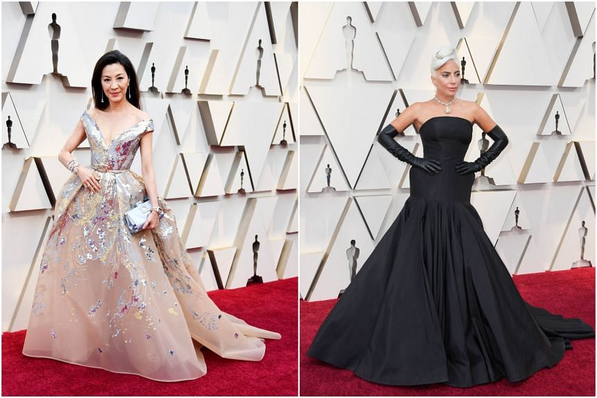 (From left) Michelle Yeoh in Elie Saab and Lady Gaga in Alexander McQueen at the 91st Academy Awards at the Dolby Theatre in Hollywood, California, on Feb 24, 2019.