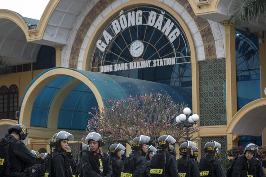 Security personnel assemble in front of the Dong Dang Railway Station, where North Korean leader Kim Jong-Un is expected to arrive by train, in Dong Dang, Vietnam, on Feb 25, 2019.