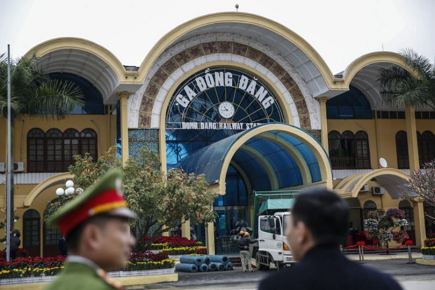 Security personnel stand near the Dong Dang Railway Station, where North Korean leader Kim Jong Un is expected to arrive by train, in Dong Dang, Vietnam, on Feb 25, 2019.