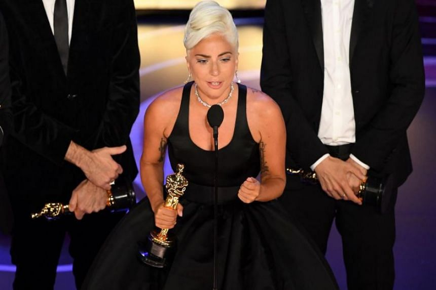 Lady Gaga accepting the award for Best Original Song during the 91st Annual Academy Awards, on Feb 24, 2019.