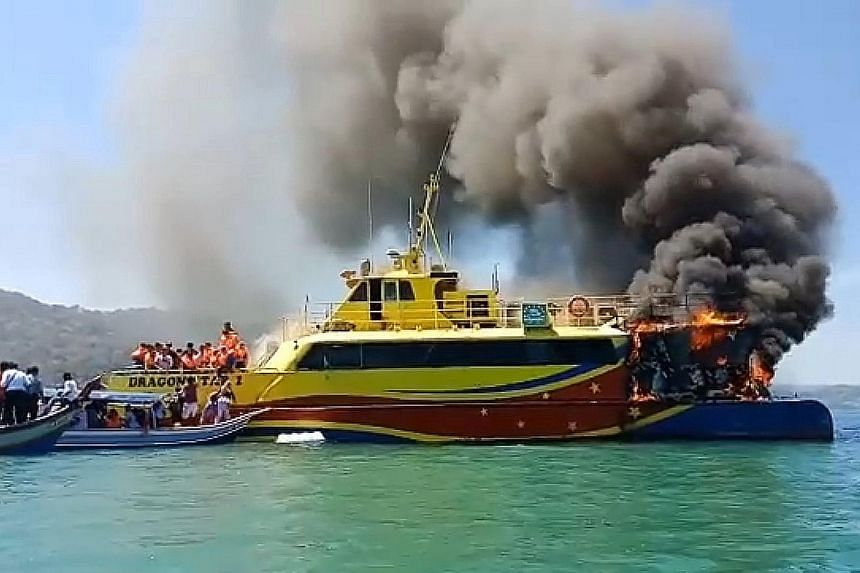 The Dragon Star ferry caught fire minutes after it departed from the Kuah Terminal in Langkawi yesterday. As the blaze spread, some passengers plunged into the sea to escape. Others quickly moved onto boats in the area. All the passengers were rescue
