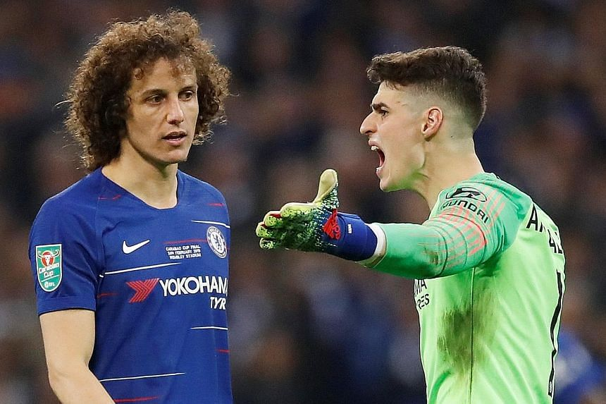 Clockwise from above: Chelsea goalkeeper Kepa Arrizabalaga watching in despair as Manchester City striker Sergio Aguero's spot kick in the League Cup final shoot-out slips under his body and into the net. Earlier, the Spaniard, seen remonstrating wit