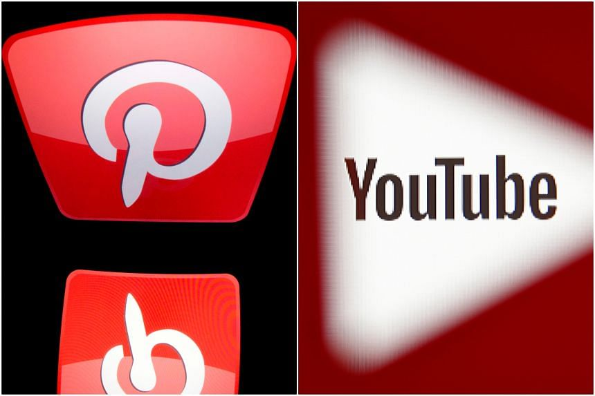 The logos of Pinterest and YouTube, that have taken measures to deal with anti-vaccine content.