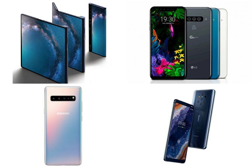 (Clockwise from top left)  Huawei Mate X,  LG G8 ThinQ, Nokia 9 PureView, and Samsung Galaxy S10 5G.