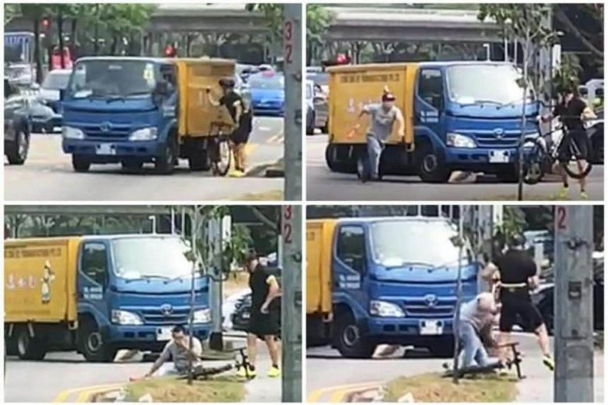 (Clockwise from top left) Video screengrabs showing the cyclist hitting the side of the lorry, which leads to the driver pulling over and confronting the cyclist, who then punches him, floors him and rides away.