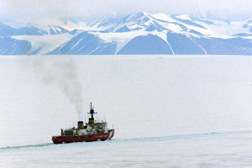 A US Coast Guard icebreaker in the waters of Antarctica.