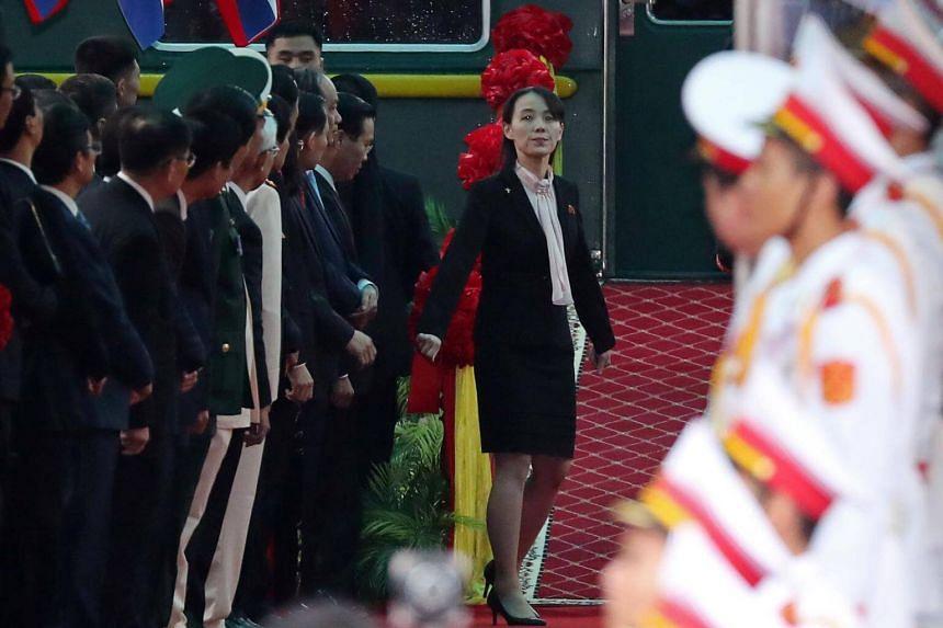 Kim Yo Jong, sister of North Korean leader Kim Jong Un, arrives at the Dong Dang railway station, on Feb 26, 2019.
