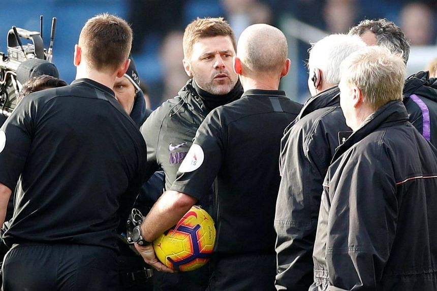 Tottenham Hotspur manager Mauricio Pochettino engaged in a lengthy and heated exchange with referee Mike Dean after the match against Burnley.