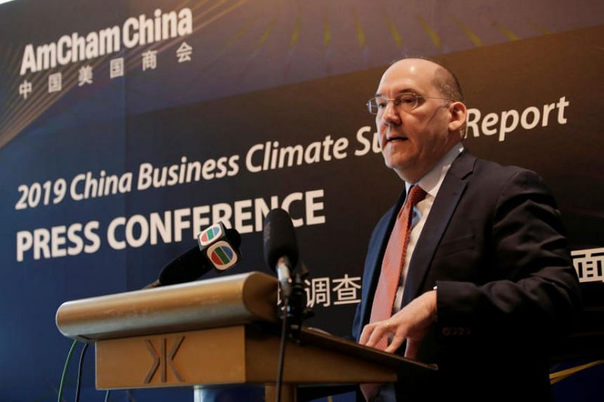 Mr Alan Beebe, president of the American Chamber of Commerce in China, speaks at a news conference on its China Business Climate Survey report in Beijing, on Feb 26, 2019.