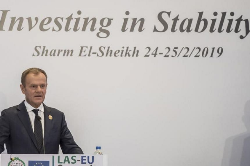 European Council President Donald Tusk addresses a press conference at the end of the first joint European Union and Arab League summit in the Egyptian Red Sea resort of Sharm el-Sheikh, on Feb 25, 2019.