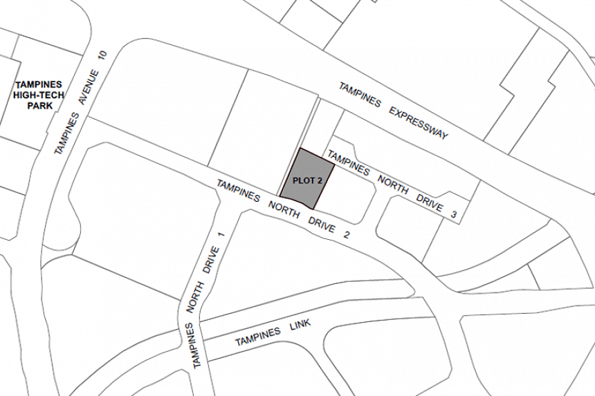The land parcel at Tampines North Drive 3 (Plot 2) spans 0.48 hectares and has a gross plot ratio of 2.5 and a tenure of 20 years.