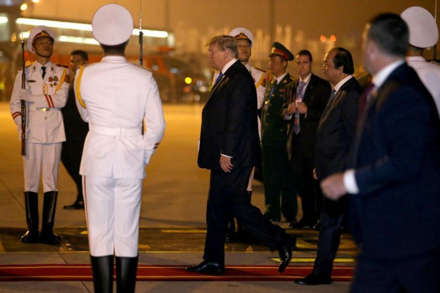US President Donald Trump touched down in Hanoi just before 9pm local time (10pm Singapore time) after flying half way around the world from Washington.