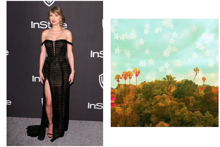 Taylor Swift (left) posted a photo of seven palm trees (right) online, which led to speculation that the singer is about to release her seventh album.