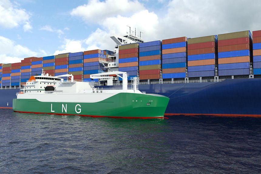 An artist's impression showing the LNG bunker vessel to be built by Sembcorp Marine by 2021 for a Mitsui OSK Lines subsidiary.