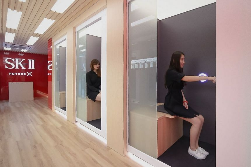 Individual booths that feature SK-II's proprietary Skin Science and Diagnostics innovation to analyse skincare needs. PHOTO: SK-II
