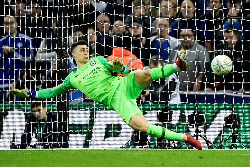 Kepa Arrizabalaga going the wrong way as a penalty from Manchester City's Bernardo Silva goes past him during Chelsea's penalty shoot-out defeat in Sunday's League Cup final. Coach Maurizio Sarri is yet to decide whether the Spaniard will retain his