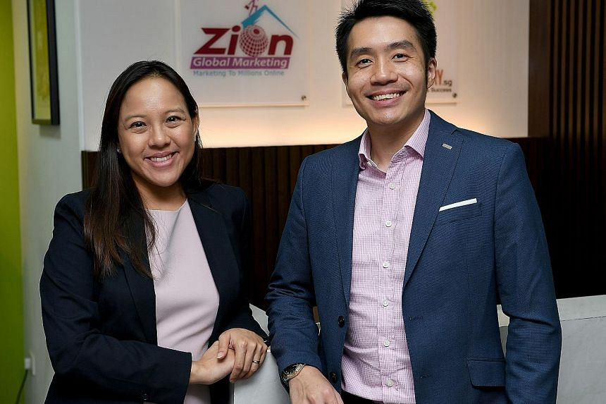 Ms Patricia Lin and Mr Calvin Woon, directors and co-founders of Zion Global Marketing, which is ranked 14th on the list of the fastest-growing enterprises compiled by The Straits Times and Statista.