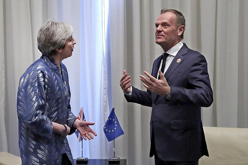 British PM Theresa May and European Council president Donald Tusk meeting on Sunday on the sidelines of an EU-Arab summit in Egypt.