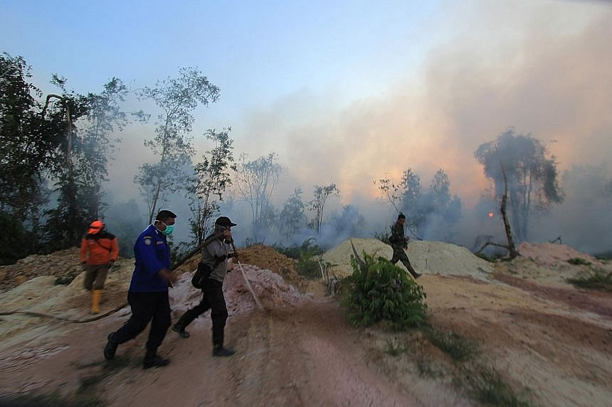 Personnel from the Indonesian disaster management agency, military and police fighting forest fires that spread towards a village in Dumai in Riau. Hot spots have been detected in the province's coastal regions.