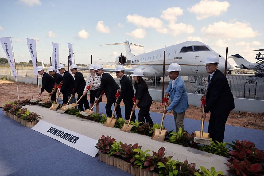 The ground-breaking ceremony for Bombardier's expanded service centre in Singapore on Feb 27, 2019.