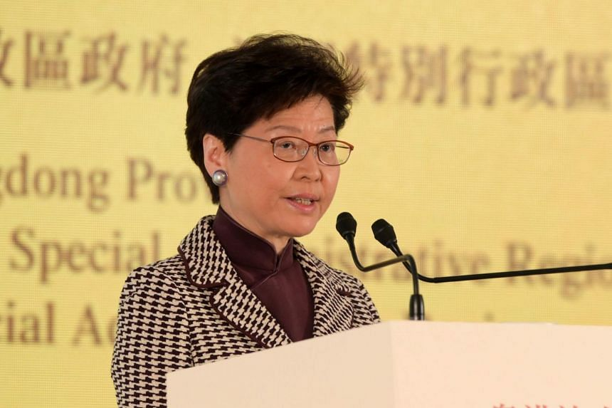 "Hong Kong's Chief Executive Carrie Lam at a symposium on the ""Outline Development Plan for the Guangdong-Hong Kong-Macao Greater Bay"" in Hong Kong on Feb 21, 2019."
