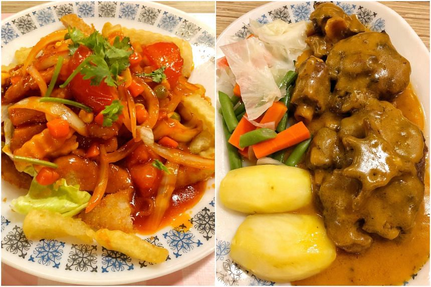 The Hainanese Pork Chop (left) and Prince's Special Ox-Tail Stew served at Prince Coffee House.