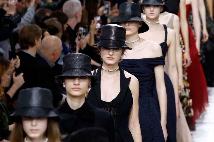 Models present creations for Christian Dior.