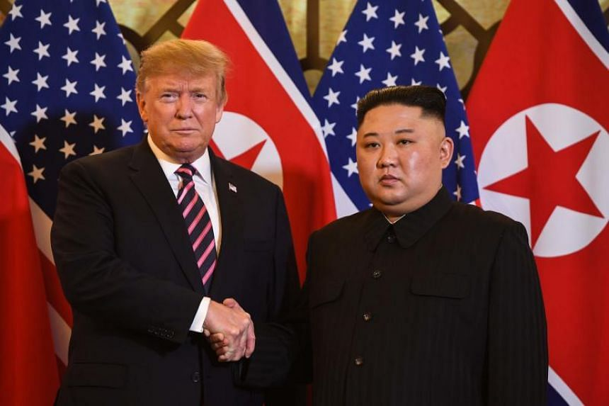 US President Donald Trump and North Korean leader Kim Jong Un met for about 30 minutes before having dinner with aides.