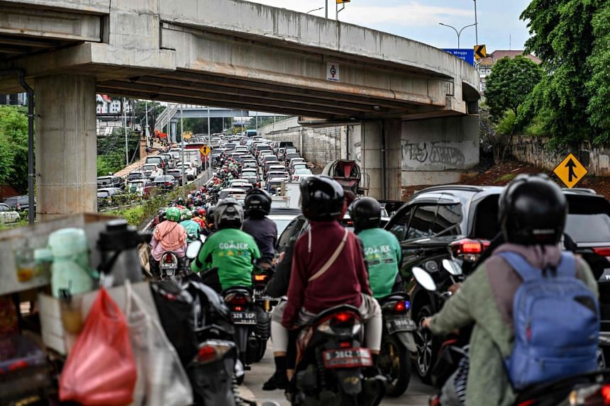 Heavy traffic during the afternoon rush hour in Jakarta, Indonesia, on Feb 21, 2019.
