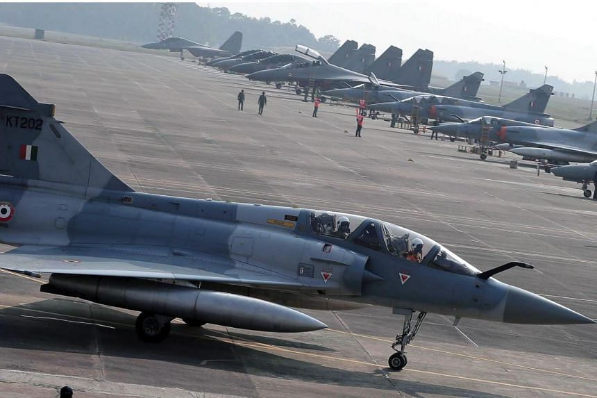 An Indian Air Force Mirage fighter jet. India and Pakistan exchanged fire along their contested border in Kashmir on Feb 27, 2019.