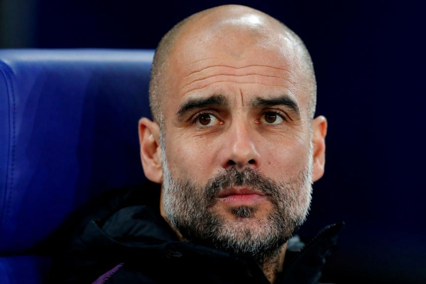 Manchester City manager Pep Guardiola during a Champions League game with Schalke 04 in Germany.
