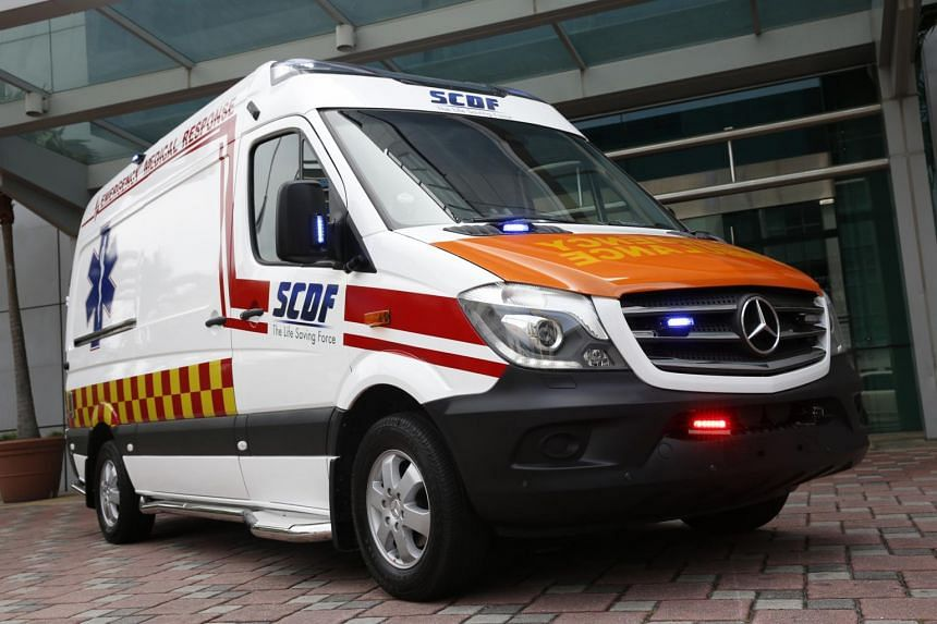 An ambulance of the Singapore Civil Defence Force.