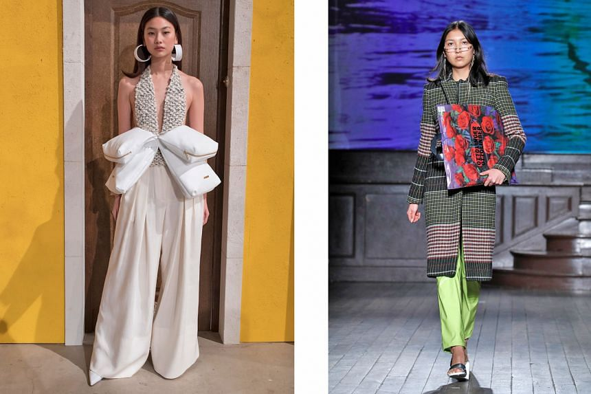 On show on Monday at Paris Fashion Week were designs by French label Jacquemus (above left) and Berlin-based label Ottolinger (above).