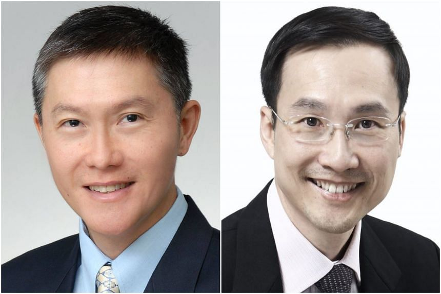 Mr Ng Chee Peng (left) joined the CPF Board in March 2015. He steps down on April 1, 2019, with current Ministry of Manpower deputy secretary Augustin Lee taking over as the new chief executive officer.