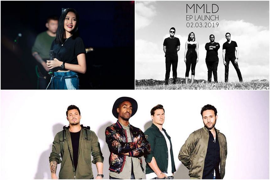 (Clockwise from top left) Taiwanese singer A-lin, local band MMLD and British boyband Blue.