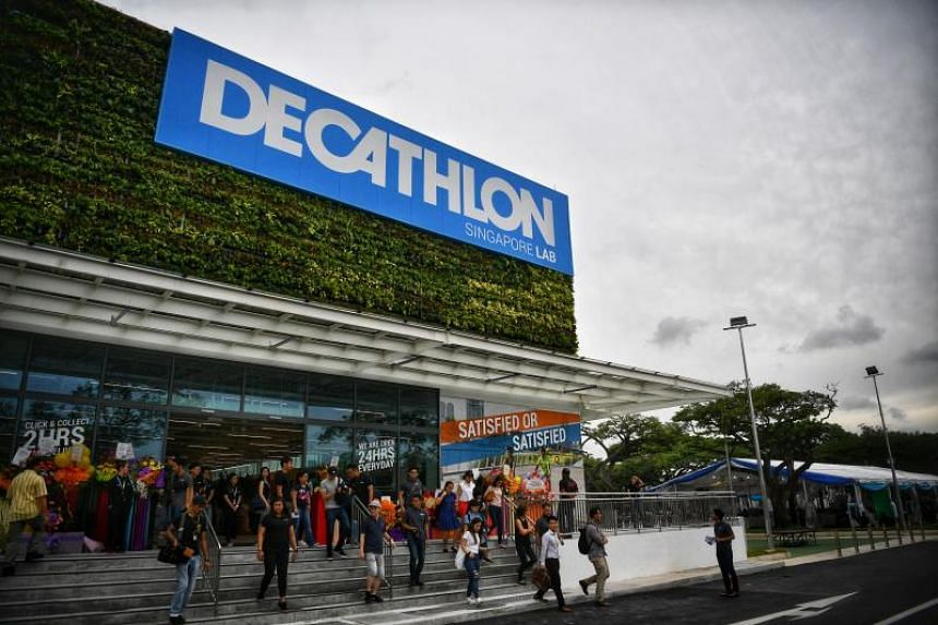 An outlet of French retailer Decathlon in Singapore. Decathlon cancelled plans to sell a sports version of the hijab Muslim headscarf in France, following an outcry.