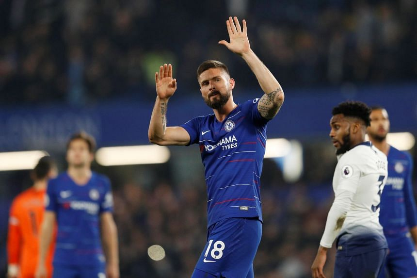 Chelsea's Olivier Giroud celebrates after the match.