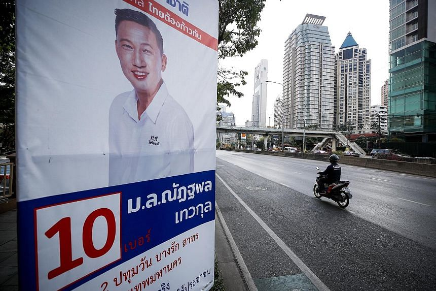 A Thai Raksa Chart Party election poster on the streets of Bangkok. Thailand's Election Commission is seeking to dissolve the party.
