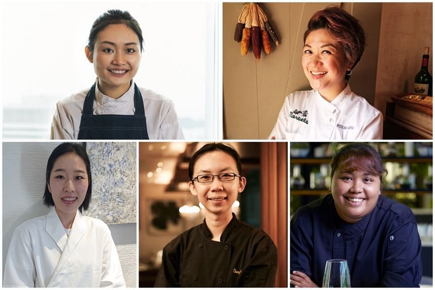 Clockwise from top left: Josephine Loke from 665°F Steakhouse, Petrina Loh from Morsel, Cheryl Koh From Tarte by Cheryl Koh, Sujatha Asokan from Garage and Nakahara Saya from Sushi Chiharu.