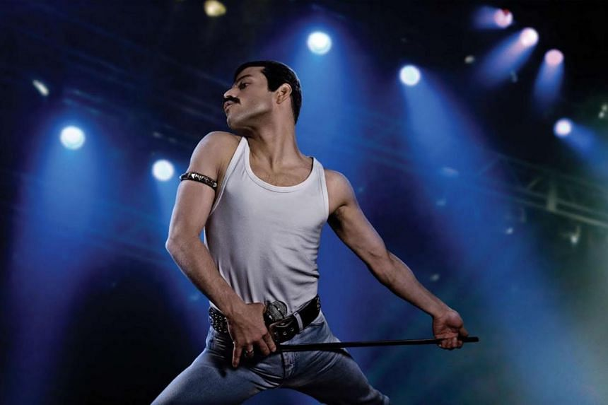 Movie still from Bohemian Rhapsody starring Rami Malek.