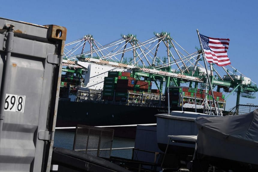Shipping containers from China and other nations being unloaded at the Long Beach Port in Los Angeles, on Feb 16, 2019.