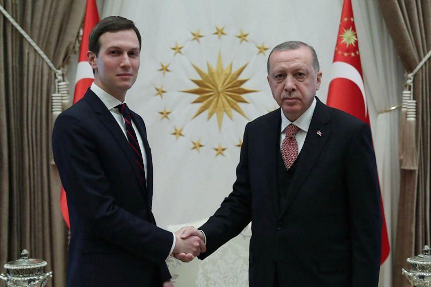 US president's senior adviser Jared Kushner (left) met Turkish President Recep Tayyip Erdogan, on Feb 27, 2019, in Ankara.