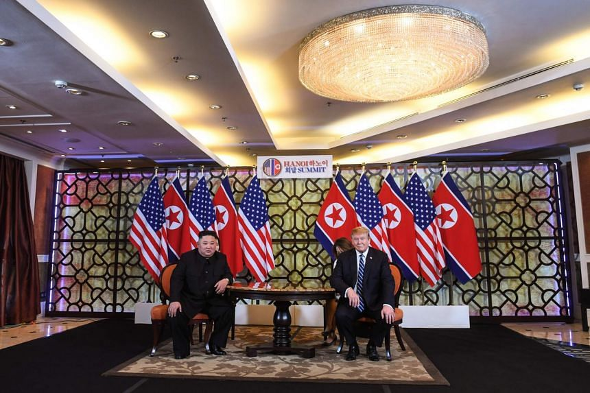 North Korean leader Kim Jong Un and US President Donald Trump met at the Sofitel Legend Metropole Hanoi on Feb 28 and will hold a one-on-one meeting that is scheduled to last 45 minutes.