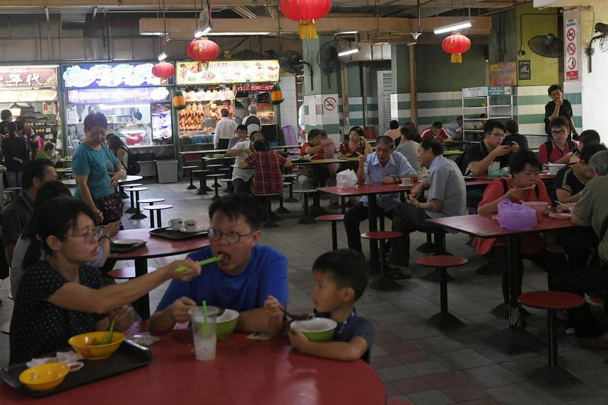 Customers during lunch hour at the Chinatown Complex hawker center, on Feb 22, 2019.