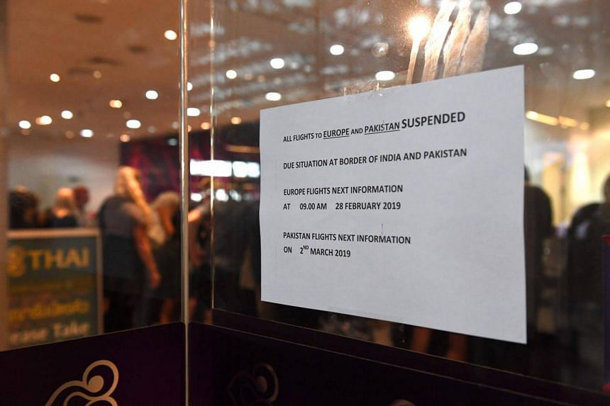 An announcement of flight cancellations is posted at the Thai Airways ticket counter in Suvarnabhumi International Airport in Bangkok, on Feb 28, 2019.