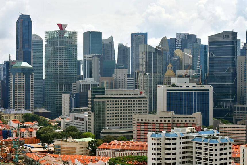 Chinatown and the skyline of Singapore's central business district seen in a photo taken on Feb 22, 2017.
